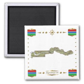 De Kaart van Gambia + De Magneet van vlaggen