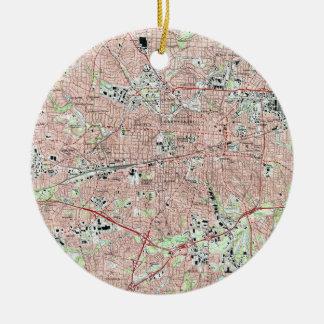 De Kaart van Greensboro Noord-Carolina (1997) Rond Keramisch Ornament