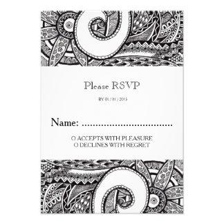 De Kaart van het Huwelijk RSVP van het Ornament Persoonlijke Uitnodiging