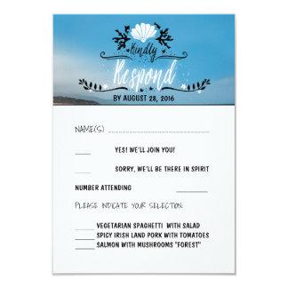 De Kaart van het Huwelijk RSVP van het strand 8,9x12,7 Uitnodiging Kaart