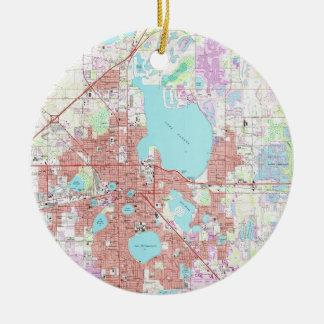 De Kaart van het Lake District Florida (1975) Rond Keramisch Ornament