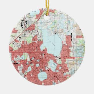 De Kaart van het Lake District Florida (1994) Rond Keramisch Ornament