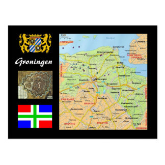 De kaart van het Nederland van Groningen Briefkaart