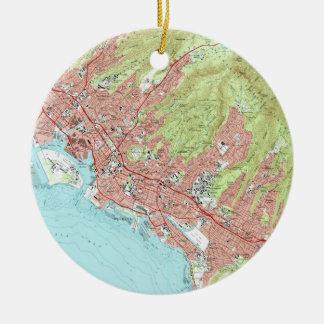 De Kaart van Honolulu Hawaï (1983) Rond Keramisch Ornament