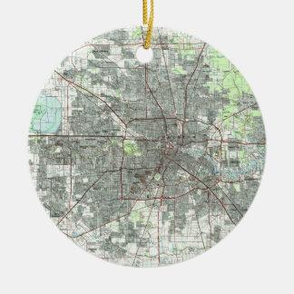 De Kaart van Houston Texas (1992) Rond Keramisch Ornament