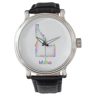 De kaart van Idaho van de regenboog Horloge
