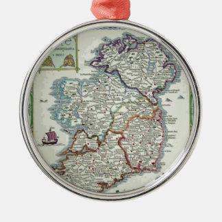 De Kaart van Ierland - de Ierse Historische Kaart Zilverkleurig Rond Ornament