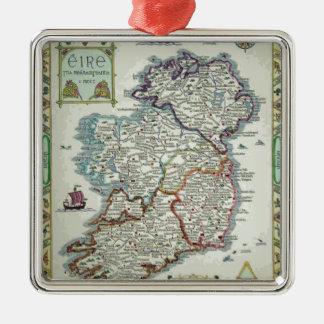De Kaart van Ierland - de Ierse Historische Kaart Zilverkleurig Vierkant Ornament