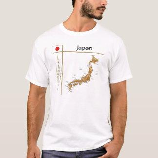De Kaart van Japan + Vlag + De T-shirt van de