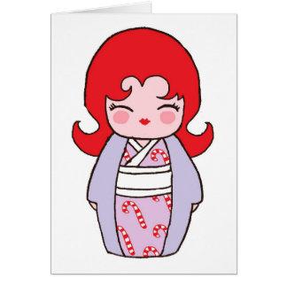 De Kaart van Kerstmis van Candycane van Kokeshi