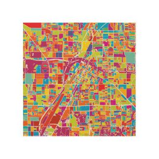 De Kaart van kleurrijk Las Vegas, Nevada Hout Afdruk