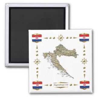 De Kaart van Kroatië + De Magneet van vlaggen