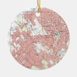 De Kaart van Lafayette Louisiane (1983) Rond Keramisch Ornament