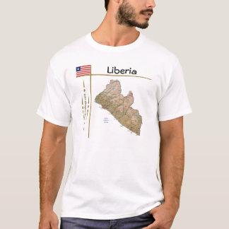 De Kaart van Liberia + Vlag + De T-shirt van de