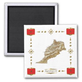 De Kaart van Marokko + De Magneet van vlaggen