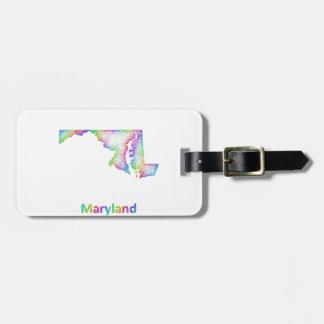 De kaart van Maryland van de regenboog Kofferlabels
