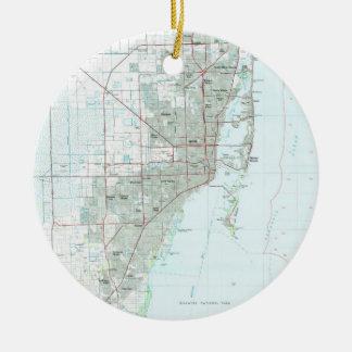 De Kaart van Miami Florida (1981) Rond Keramisch Ornament