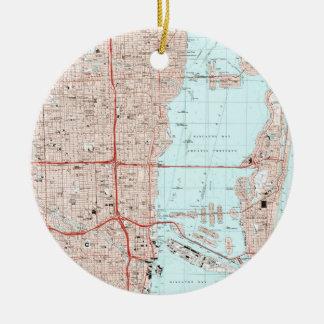 De Kaart van Miami Florida (1988) Rond Keramisch Ornament