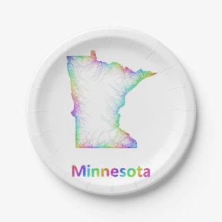 De kaart van Minnesota van de regenboog Papieren Bordje