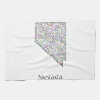 De kaart van Nevada Theedoek