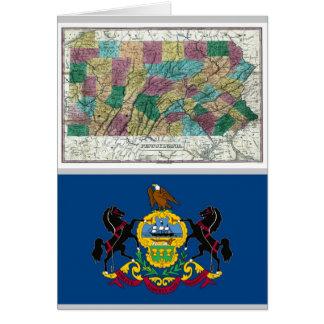 De Kaart van Pennsylvania en de Vlag van de Staat