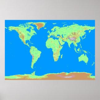 De Kaart van Pixelated van de Wereld Poster