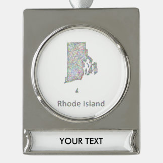 De kaart van Rhode Island Verzilverd Banner Ornament