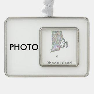 De kaart van Rhode Island Verzilverd Omlijst Ornament