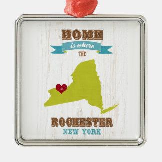 De Kaart van Rochester, New York - het Huis is waa Zilverkleurig Vierkant Ornament