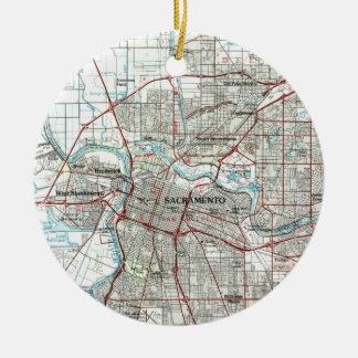 De Kaart van Sacramento Californië (1994) Rond Keramisch Ornament