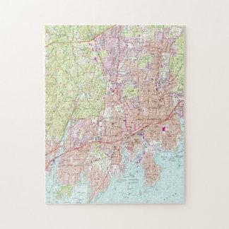 De Kaart van Stamford Connecticut (1987) Puzzel