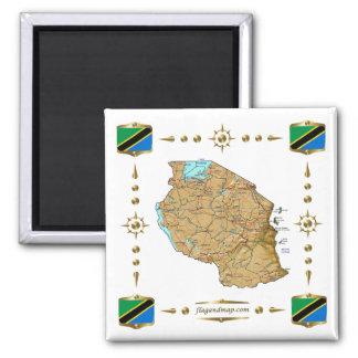 De Kaart van Tanzania + De Magneet van vlaggen
