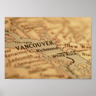 De Kaart van Vancouver Poster