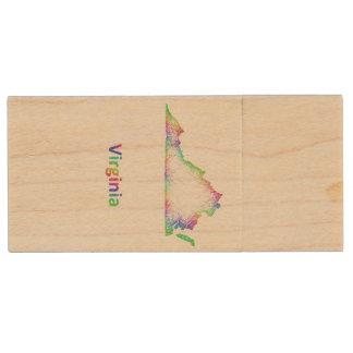 De kaart van Virginia van de regenboog Houten USB 2.0 Stick