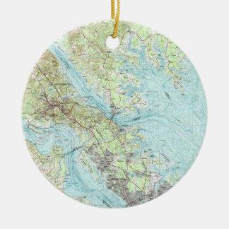 De Kaart van Virginia van het vloedwater (1984) Rond Keramisch Ornament