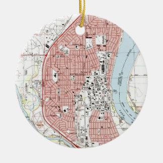 De Kaart van Washington van Richland (1992) Rond Keramisch Ornament