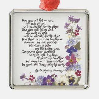 De kaarten van het huwelijk en giften zilverkleurig vierkant ornament