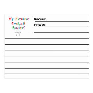 """De Kaarten van het Recept van de """"favoriete Briefkaart"""