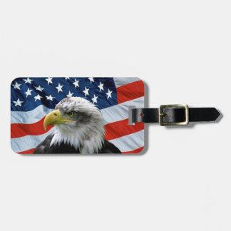 De kale Amerikaanse Vlag van Eagle Bagagelabel