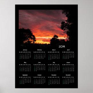 De kalender~ druk van de Zonsondergang van de Poster