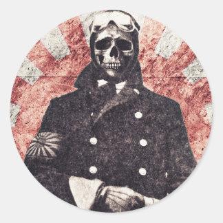 De kamikaze van de schedel ronde sticker