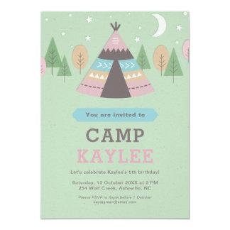 De kamperende Partij van de Verjaardag van de Tent 12,7x17,8 Uitnodiging Kaart