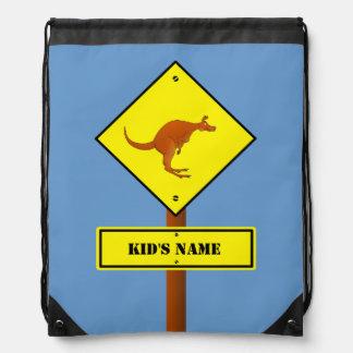 De kangoeroeteken van Australië Trekkoord Rugzakje
