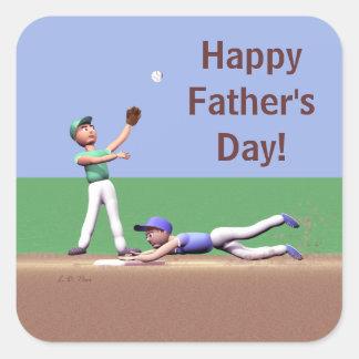 De Karakters van het Honkbal van de Dag van vaders Vierkante Sticker