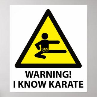 De Karate van de waarschuwing Poster
