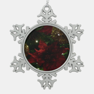 De kastanjebruine en Gouden Foto van de Vakantie Tin Sneeuwvlok Ornament
