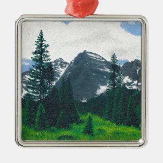 De kastanjebruine Klokken, Esp, Colorado Zilverkleurig Vierkant Ornament