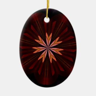 De kastanjebruine Oranje Paarse Fractal van de Keramisch Ovaal Ornament