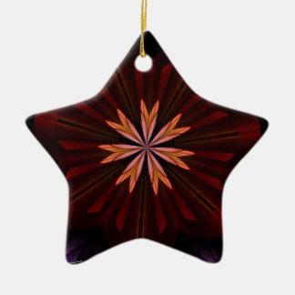 De kastanjebruine Oranje Paarse Fractal van de Keramisch Ster Ornament