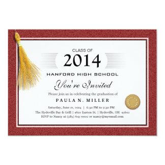 De kastanjebruine Rode Afstuderen van het Diploma 12,7x17,8 Uitnodiging Kaart